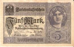 BILLETE DE ALEMANIA DE 5 MARK DEL AÑO 1917  (BANKNOTE) - [ 2] 1871-1918 : German Empire