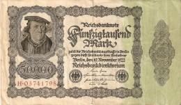 BILLETE DE ALEMANIA DE 50000 MARK DEL AÑO 1922 EN CALIDAD MBC (VF) (BANKNOTE) NUMERACION GRANDE - [ 3] 1918-1933 : Weimar Republic