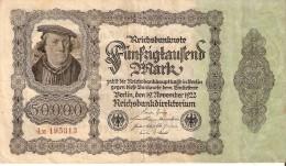 BILLETE DE ALEMANIA DE 50000 MARK DEL AÑO 1922 EN CALIDAD MBC (VF) (BANKNOTE) NUMERACION PEQUEÑA - [ 3] 1918-1933 : Weimar Republic