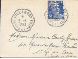 INDRE ET LOIRE  - AGENCE POSTALE  F 7  -  1953  -  VILLANDRY Sur Mignonette - Postmark Collection (Covers)