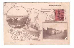54 Vannes Le Chatel Carte RARE Carte 3 Vues Dont Pont Eglise Route Cachet 1907 - Francia