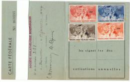 1947 - Carte Fédérale - Fédération Des Sociétés Philatéliques Françaises   -  Vignettes 1947 à 1950 - Non Classés