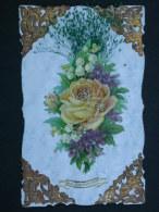 Ref4295 JU CPA Fantaisie - Bonne Et Heureuse Année - Collages Bouquet De Fleurs Et Feuillages En Relief - Fancy Cards