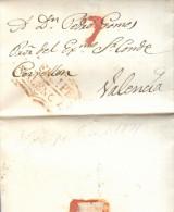 Año 1831 Prefilatelia Carta De San Felipe A Valencia Marcas Nº7 S.Felipe Valencia    Y Porteo Rojo - ...-1850 Prefilatelia