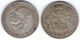 ESPAÑA ALFONSO XII 2 PESETAS 1882 PLATA SILVER C51 - Colecciones