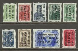 LITAUEN Lithuania 1941 German Occupation NEPRIKLAUSOMA Michel 1 - 9 MNH - Besetzungen 1938-45