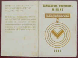 *O358 CUBA MILITAR CREDENCIAL DE MEDALLA. VANGUARDIA PROVINCIAL DEL MININT 1981. - Tokens & Medals