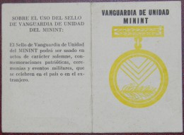 *O359 CUBA  MILITAR CREDENCIAL DE MEDALLA VANGUARDIA DE UNIDAD MININT. - Tokens & Medals