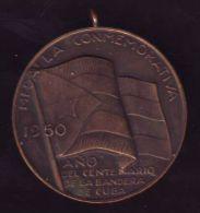 *O411 CUBA MEDAL.1950. MEDALLA CENTENARIO BANDERA CUBANA. NARCISO LOPEZ. - Tokens & Medals