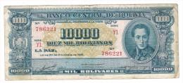 Bolivia 10000 Bs. 1945, Used, SEE SCAN,   FREE SHIP. TO USA - Bolivia