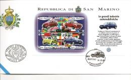 Y-LE GRANDI INDUSTRI AUTOMOBILISTICHE-VOLSWAGEN-FDC FOGLIETTO 14-11-97 - San Marino