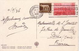 ITALIE - CARTE POSTALE DE MILAN POUR LA FRANCE LE 4-9-1936 - BEL AFFRANCHISSEMENT. - Italien