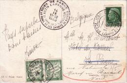 ITALIE - CARTE POSTALE FOLIGNO POUR LA BELGIQUE EN 1933 - CACHET SPECIAL DE LA PANNE CHAMP DE BATAILLE-TAXEE EN FRANCE A - Italien