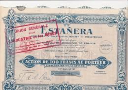 ACTION DE 100 FRS -ESTANERA- COMPAGNIE MINIERE ET INDUSTRIELLE - 1928 - Mines
