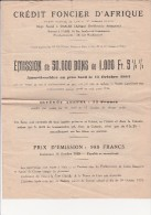 STATUTS CREDIT FONCIER D'AFRIQUE  SUR 4 PAGES - 1929 - Aandelen