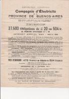 STATUTS COMPAGNIE D'ELECTRICITE DE LA PROVINCE DE BUENOS - AIRES  -ARGENTINE- 1911 - Aandelen