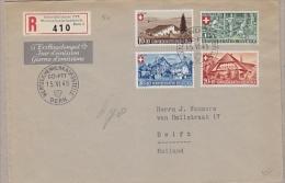 Switzerland 1945 Pro Patria 4v On Registred FDC To Delft Holland   (22146) - FDC