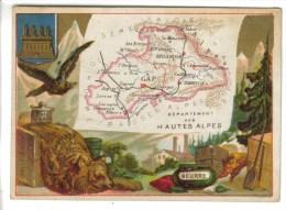 CHROMO REPRESENTATION GEOGRAPHIQUE DEPARTEMENT HAUTES ALPES - Cuirs, Loups... - Vieux Papiers