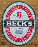 Etiket, Label, Bier, Beer, Beck - Andere Verzamelingen