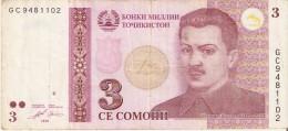 BILLETE DE TAYIKISTAN DE 3 SOMONI DEL AÑO 2010 (BANKNOTE) - Tadzjikistan