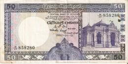 BILLETE DE CEYLON DE 50 RUPIAS DEL AÑO 1982   (BANKNOTE) CEILAN - Sri Lanka
