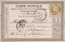 HAUTE MARNE - Wassy -S-Blaise - Carte Postale - CAD -Type17-Oblitération Grand Chiffre N°4340- 1875 - Marcophilie (Lettres)