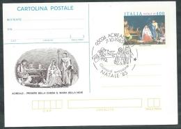 1985 ITALIA CARTOLINA POSTALE NATALE ANNULLO FDC - DE - 6. 1946-.. Repubblica