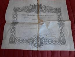 Chevalier Ordre Impérial LEGION D´HONNEUR 1853 Montpellier 34 Signé Du Duc De Plaisance Grand Chancelier - Documentos Históricos