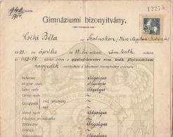 2211FM- GYMNASIUM CERTIFICATE, 4TH GRADE REPORT, ARCHER STAMP, 1914, HUNGARY - Diplomas Y Calificaciones Escolares