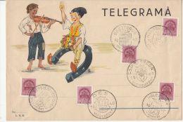 2224FM- TELEGRAMME COVER, BOYS, HORSE SHOE, VIOLIN, ROYAL CROWN STAMP, TRANSYLVANIAN TOWNS RETURNED, 1940, HUNGARY - Télégraphes