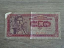 BILLET YOUGOSLAVIE 100 DINARA - Yougoslavie