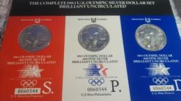 EE.UU USA OLYMPIC SILVER DOLLAR SET 1983 PLATA - Colecciones