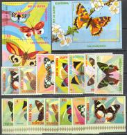 M0315 Fauna Insects Butterflies Moths Guinea Equatorial 7+7+2S/s MNH ** Imperf Imp - Butterflies