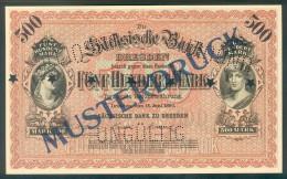 Deutschland, Germany, Sächsische Bank - 500 Mark,  ( Ro.: SAX 7 M ), MUSTERDRUCK, SPECIMEN, 1890 ! - [ 2] 1871-1918 : Duitse Rijk