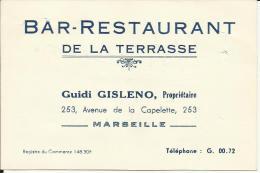Carte Guidi GISLENO à MARSEILLE, Bar Restaurant De La Terrasse. Verso écrit Note D´un Repas. - Old Paper