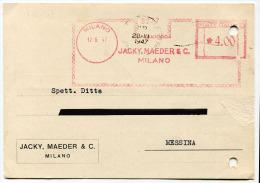 AFFRANCATURE MECCANICHE TARGHETTA ROSSE 17/06/1947 JACKY MAEDER & C. MILANO REPUBBLICA - Affrancature Meccaniche Rosse (EMA)