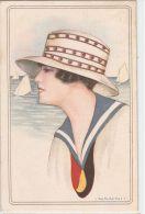 NANNI  - ART DECO POSTCARD 1920s - WOMAN WITH BIG HAT & BOAT - N. 162-5 - Nanni