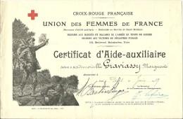 Juin 1927 - CROIX ROUGE FRANÇAISE - UNION Des FEMMES De FRANCE - Certificat D'AIDE-AUXILIAIRE - - Documents Historiques