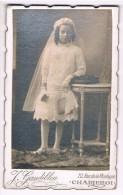 CDV Photographe J. Gandibleu, Charleroi - Jeune Communiante - Communion - 2 Scans - Old (before 1900)