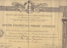 Doc 32x42 . DIPLOME  D´INSTRUCTION PRIMAIRE SUPERIEURE  Jacqueline MONTEFIORE (née Le 30/09/1910)  Paris 3 Juillet 1926 - Diplomi E Pagelle