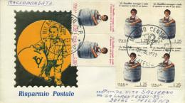 ITALIA - FDC SILIGATO 1971 -  GIORNATA DEL RISPARMIO - BLOCCO VIAGGIATO IN RACCOMANDATA - 6. 1946-.. Repubblica