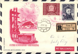 Austria 1950 Stamped Stationery Registered Balloon Post, Red Cancellation 28-May-1950 Österr Kinderdorf, Andreas Hofer - Entiers Postaux