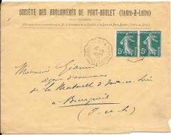 LF224- Lettre à En Tête : Société Des Aglomérés De Port-Boulet , Timbres N°137x2 - 1877-1920: Période Semi Moderne