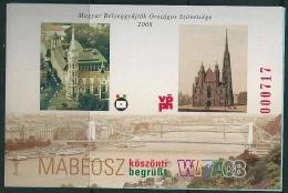 0665 Hungary Building Church Wien Budapest Bridge WIPA 2008 Memorial Sheet Imp - Kirchen U. Kathedralen
