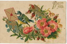 Oiseau Gaufré Avec Fleur Et Enveloppe Coeur Embossed - Oiseaux