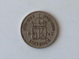 UK GRANDE BRETAGNE SIX 6 PENCE 1940 ARGENT SILVER - 1902-1971 : Monnaies Post-Victoriennes
