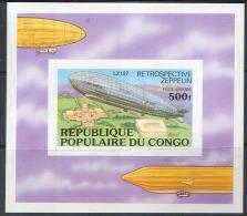 M2063 Transport Aviation Zeppeline 1977 Congo S/s MNH ** Imperf Imp - Zeppelines
