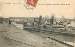 Dep - 78 - CONFLANS SAINT HONORINE Pont De Conflans Vue Prise De La Berge ( Peniches Bateaux Vapeur ) - Conflans Saint Honorine