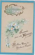 Carte  Peinte  Main  -  SOUVENIR  POUR  VOTRE  MARIAGE - Fleurs, Plantes & Arbres