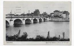 (RECTO/VERSO) ROANNE EN 1939 - QUAI DES BALMES ET PONT SUR LA LOIRE - CARTE FORMAT CPA - Roanne